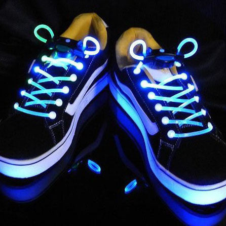 Shoe Laces LED blue or green Glow in Dark Super Neon Shoelaces