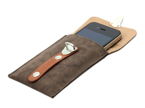 Slim Faux Leather Pouch Case with Hook for iPhone 4 4G 4S