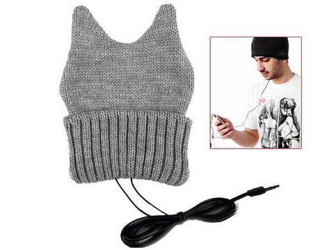 Knitted Ox Horn Beanie Cap Hat With Headphone Earphone 3.5mm