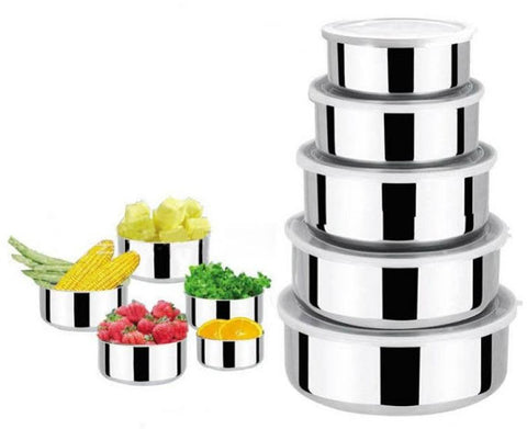 Set of 5 Stainless Steel Food Containers