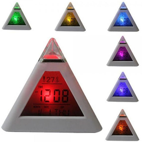 LED Pyramid Shape Colour Changing Digital Alarm Clock
