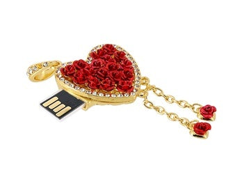 Crystal Rose Heart Pendant 4GB USB Flash memory