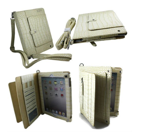 Multifunctional Crocodile Look Skin Leather Briefcase For iPad 1, 2 and New iPad
