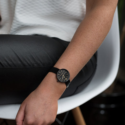 Black leather womens watch The Atom by Newgate watches