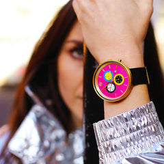 womens pink watch black leather watch pink watch the G6S Pussy by Newgate watches