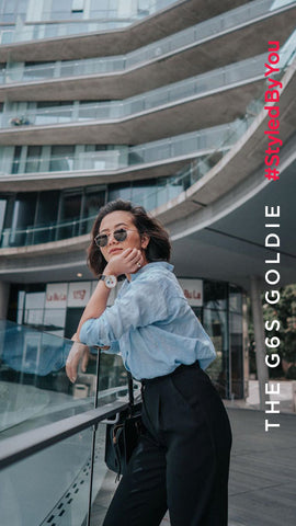 Fashion influencer An Trieu wearing Newgate G6 watch womens chronograph watch by Newgate