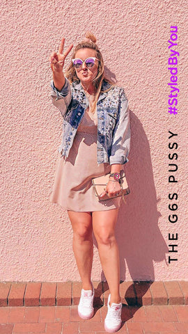 Fashion blogger Katie wearing G6S Pussy pink womens chronograph watch black leather strap watch by Newgate