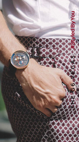 Menswear fashion influencer Skirmantas wearing G6 Vegas chronograph watch by Newgate mens leather watch