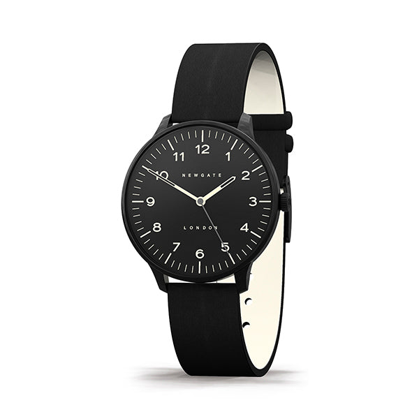 Black-on-Black Leather Watch - Men's Women's - British Design - Newgate Blip WWMBLPBK055LK (skew)