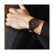 Black-on-Black Leather Watch - Men's Women's - British Design - Newgate Blip WWMBLPBK055LK (wrist wear) 1