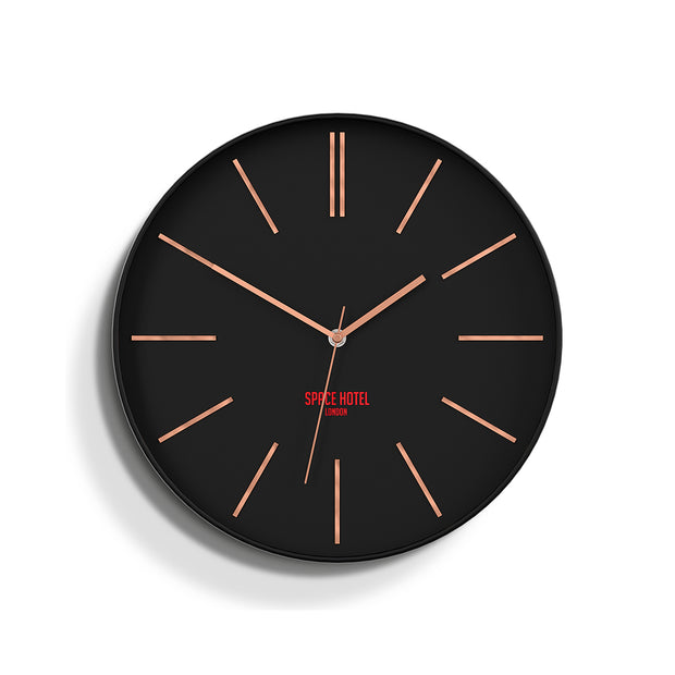 Black Copper Wall Clock Modern Minimal - Space Hotel Sci-Fi Sid SH-SCIF-K1-K