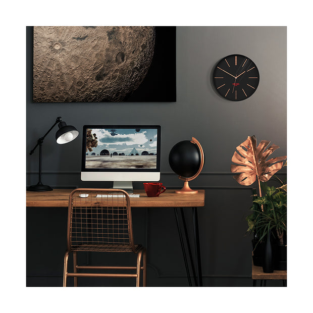 Black Copper Wall Clock Modern Minimal - Space Hotel Sci-Fi Sid SH-SCIF-K1-K lifestyle