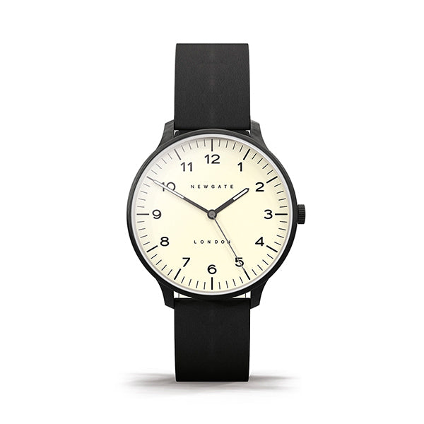 Black Leather Watch - Everyday Casual - Men's Women's - British Design - Newgate Blip WWMBLPBK064LK (front)
