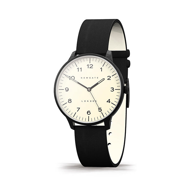 Black Leather Watch - Everyday Casual - Men's Women's - British Design - Newgate Blip WWMBLPBK064LK (skew)
