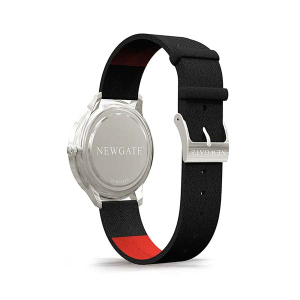 Black Leather Watch - Men's Women's - Everyday Casual - British Design - Newgate Blip WWMBLPVS026LK (back)