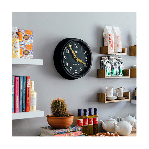 Black Station Wall Clock - Retro Mid-Century - Newgate Electric GWL15MK (homeware) 1 copy