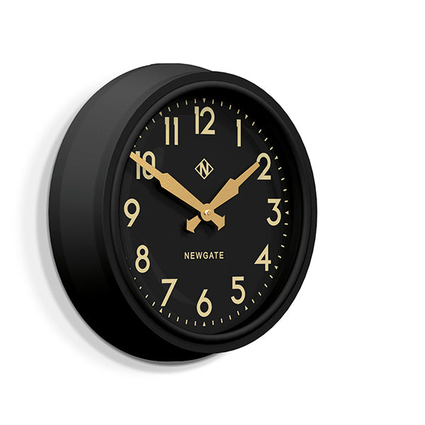 Black Station Wall Clock - Retro Mid-Century - Newgate Electric GWL15MK (skew)