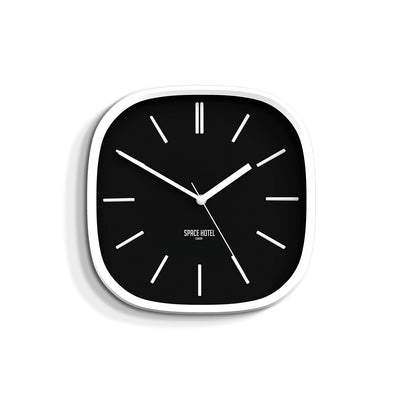 Black White Wall Clock Modern Minimal - Space Hotel Moontick SH-MOON-K1-W