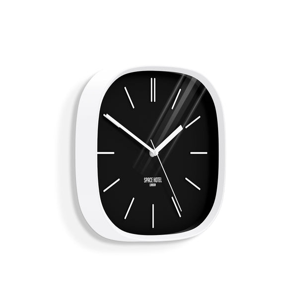 Black White Wall Clock Modern Minimal - Space Hotel Moontick SH-MOON-K1-W skew