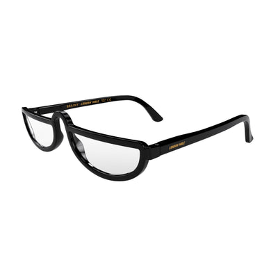 Open and skewed view of the London Mole Brainy Blue Blocker Glasses in Gloss Black