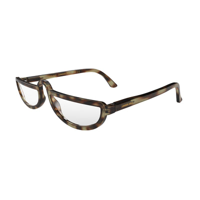 Open and skewed view of the London Mole Brainy Blue Blocker Glasses in Tortoise Shell