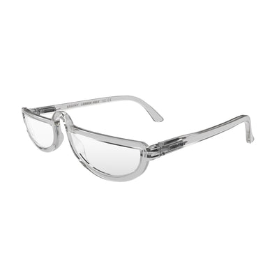 Open and skewed view of the London Mole Brainy Blue Blocker Glasses in Transparent