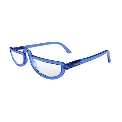 Open and skewed view of the London Mole Brainy Blue Blocker Glasses in Transparent Blue