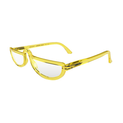 Open skewed view of the London Mole Brainy Blue Blocker Glasses in Transparent Yellow