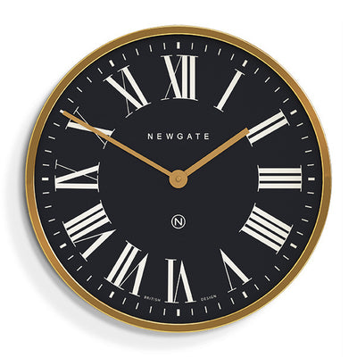 Brass and Petrol Blue large Mr Butler Roman numeral wall clock by Newgate World - PUT735RAB