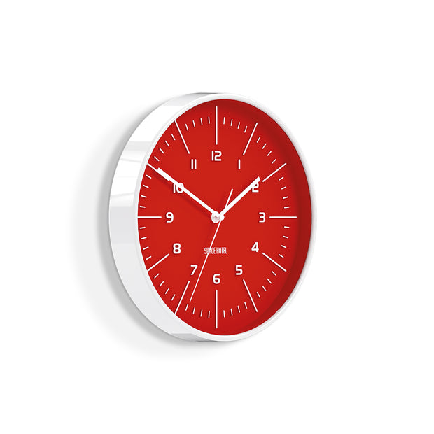 Bright Red Wall Clock - Modern Colourful - Space Hotel Galaxy X SH-GALA-FER1-W - skew
