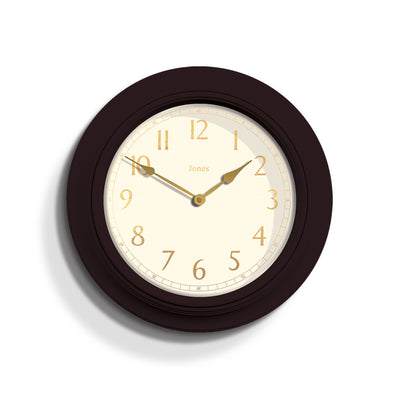 Large, moulded, classic Jones Clocks Supper Club wall clock in Mocha Brown with pretty gold foil numerals and double spade hands- JSUP434CHK