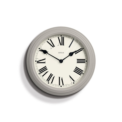 Classic Wall Clock with Roman Dial and Gloss Cloud Grey Case - Jones Clocks Savoy JSAVS2OGY