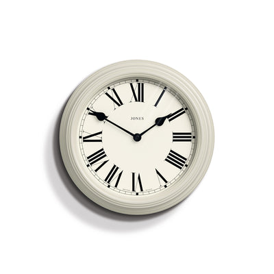 Classic Wall Clock with Roman Dial and Gloss Linen White Case - Jones Clocks Savoy JSAVS2LW