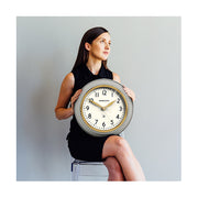Classic Grey Kitchen Clock – Gold Brass – Newgate Cookhouse COOK397OGY (lifestyle) 1 copy