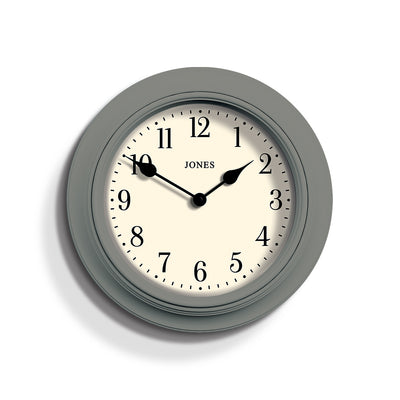 Classic Grey Wall Clock - Jones Clocks Supper Club JSUP144CGY - front