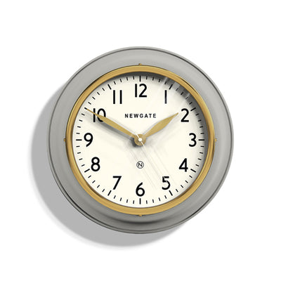Classic Kitchen Clock - Grey & Gold Brass - Newgate Cookhouse COOK397OGY