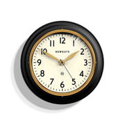 Classic Kitchen Clock – Black & Gold Brass – Newgate Cookhouse COOK397K