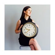 Classic Kitchen Clock – Black & Gold Brass – Newgate Cookhouse COOK397K (lifestyle) 1 copy