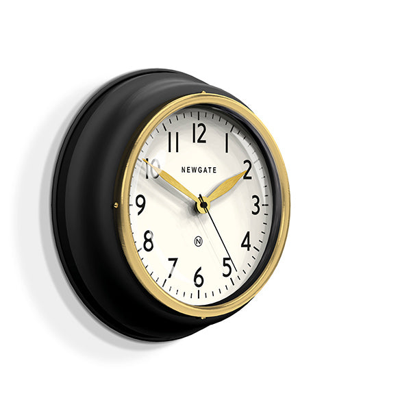 Classic Kitchen Clock – Black & Gold Brass – Newgate Cookhouse COOK397K (skew)