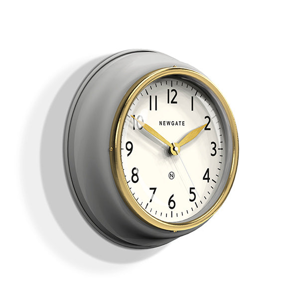 Classic Kitchen Clock – Grey & Gold Brass – Newgate Cookhouse COOK397OGY (skew)