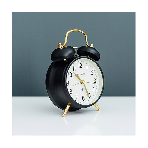 Classic Twin-Bell Alarm Clock - Black Brass - Silent 'No Tick' - Newgate Brick Lane CGAM371MK (room decor)