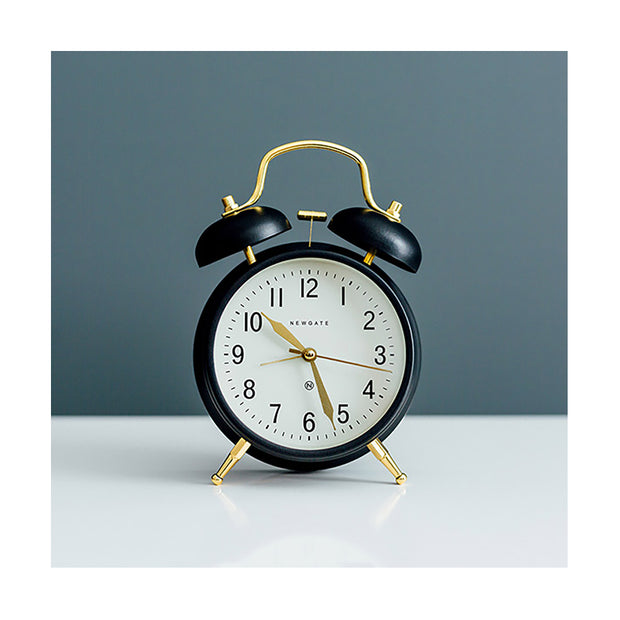 Classic Twin-Bell Alarm Clock - Black Brass - Silent 'No Tick' - Newgate Brick Lane CGAM371MK (homeware)