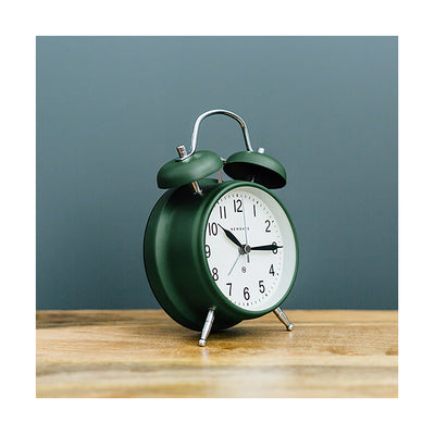 Classic Twin-Bell Alarm Clock - Dark Green - Silent 'No Tick' - Newgate Brick Lane CGAM371MPRG (room decor)