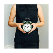 Classic Twin-Bell Alarm Clock - Dark Green - Silent 'No Tick' - Newgate Brick Lane CGAM371MPRG (lifestyle)