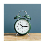 Classic Twin-Bell Alarm Clock - Dark Green - Silent 'No Tick' - Newgate Brick Lane CGAM371MPRG (homeware)