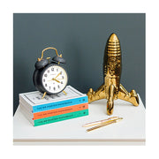 Classic Twin-Bell Alarm Clock - Grey Brass - Silent 'No Tick' - Newgate Brick Lane CGAM371MBGY (room decor)