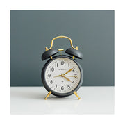 Classic Twin-Bell Alarm Clock - Grey Brass - Silent 'No Tick' - Newgate Brick Lane CGAM371MBGY (homeware)