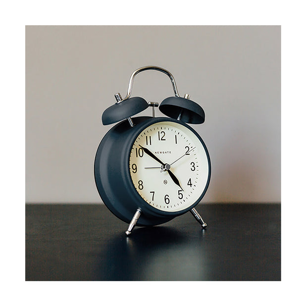 Classic Twin-Bell Alarm Clock - Navy Blue - Silent 'No Tick' - Newgate Brick Lane CGAM371MPRBL (room decor)