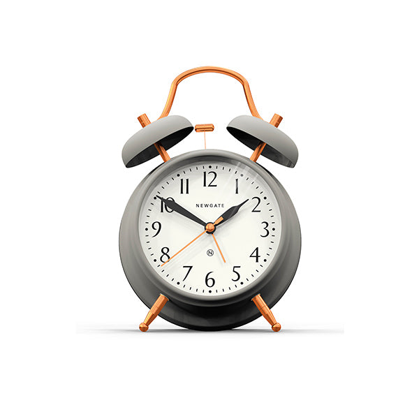 Classic Twin-Bell Alarm Clock - Silent 'No Tick' - Grey & Copper - Newgate CGAM117MCGY