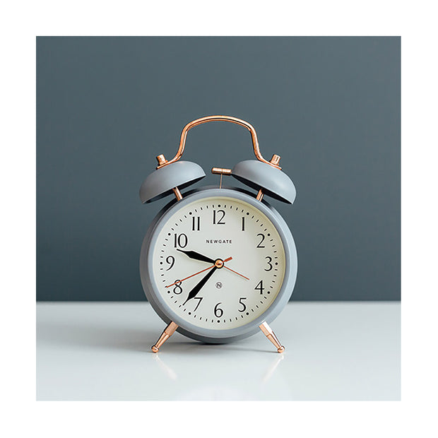 Classic Twin-Bell Alarm Clock - Silent 'No Tick' - Grey & Copper - Newgate (homeware) CGAM117MCGY 1
